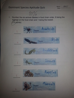 Page one of the quiz